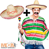 Mexican Bandit Poncho + Sombrero Mens Fancy Dress Wild West Adult Costume Outfit