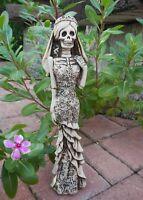 """Mexican Catrina Figurine Talavera Bride Day Of The Dead Santa Muerte Statue 12"""""""