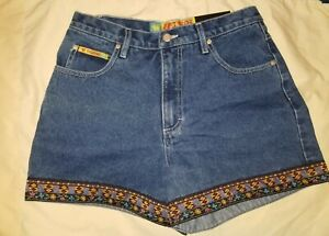 Vintage Shorts NO EXCUSES Denim Embroidered Look Trim NEW With Tags Women 11/12