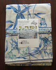 April Cornell Tablecloth Bamboo Garden Blue French Country Floral 60 x 84 Cotton