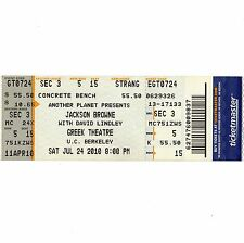 Jackson Browne & David Lindley Full Concert Ticket Stub Berkeley 7/24/10 Greek