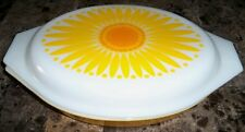 Vintage Pyrex Yellow Sunflower Daisy Oval Divided Casserole With Lid
