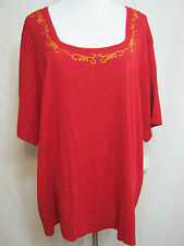 3X Womens Red Sweater Square Neck Pullover Embroidery Short Sleeve