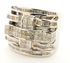 Heavy 14K white gold amazing 3.94CTW diamond cluster men's ring size 10.5