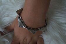 "NEW Uno De 50  Stamped Silver Bite Me Leather 7.5"" Statement Bracelet"