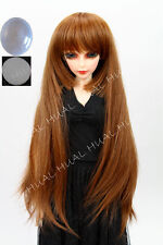 "6-7"" 1/6 BJD Golden Brown Long Dollfie Dullip Wig LUTS Doll DZ DOD Soom Hair UAL"