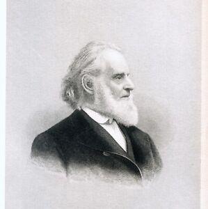 Portrait of American Preacher and Writer - REV. LEONARD BACON - 1886 engraving