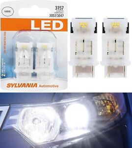 Sylvania LED Light 3157 White 6000K Two Bulbs Front Turn Signal Replace Upgrade