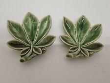 2 Green Wade Horse Chestnut Leaf Dishes Vintage Retro Irish Wade Pottery