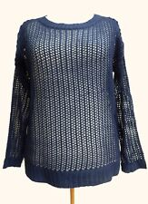 SIZE 16-18 Blue Wool Mix Net Knit Top French