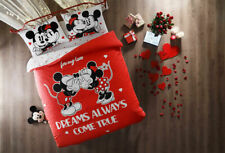 Minnie Mickey Mou 00006000 se Bedding 100%Cotton Duvet Cover Set Full/Queen Size Red White