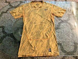 Nike Pro Combat Dri-Fit Compression Yellow Shirt Ladies Extra Large Petite Slim