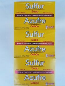 12 Bars Sulfur Soap with Lanolin for Acne Treatment  Net Wt 4.4 oz  Grisi NEW