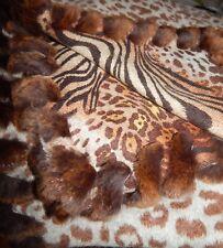 NEW Cashmere Wrap Throw~ 2-Side Print~ Leopard &Tiger~ Rabbit Trim~ Bwn/Blue Gry