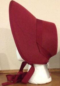 Burgundy Felt Bonnet Hat Adult Costume Accessory NEW Dickens Victorian