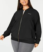 Columbia Womens Plus Size Full Zip Water Repellent Bomber Jacket Black