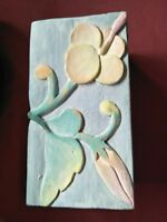 Wooden Box Carved Pastel Floral Hinged Trinket Box VGC 14x7.5x7cm