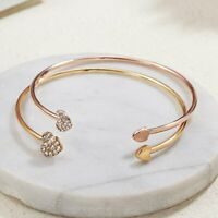 2pcs/set Crystal Heart Love Opening Bracelet Bangle Women Ornaments Wedding Gift