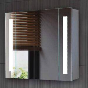 Illuminated LED Bathroom Mirror Cabinet With Shaver Socket Demister Touch Sensor