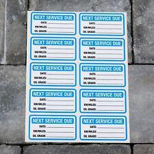 10 x Next Service Stickers Car Van Truck Garage Oil Change Reminder Blue - 5417