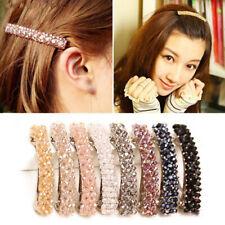 Fashion Women Crystal Rhinestone Barrette Clip Stick Hairpin Hair Accessories