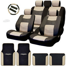 New Semi Custom Syn Leather Seat Covers Split Seat Vinyl Mats BT Set For Subaru
