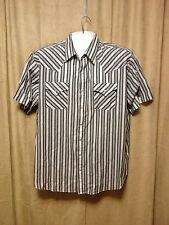 Mens Plains Big Man Western Shirt 2X Multi Color Striped Short Sleeves poly/cot