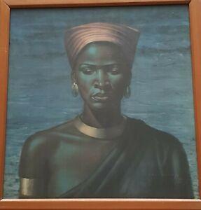 Vintage Original Vladimir G Tretchikoff Zulu Girl Framed Print signed SA / 51