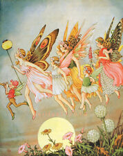Postcard: Vintage repro print - Fairies in the Moonlight - Full moon