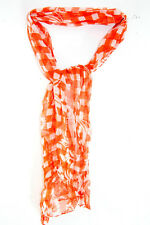 CASUAL RUSTIC LOOK CHECKED ORANGE/WHITE LIGHTWEIGHT SCARF FLOWERS (MS20)