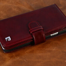 """RED Flip Card Wallet Genuine Leather Case For New iPhone 6 6S 4.7"""" PIERRE CARDIN"""