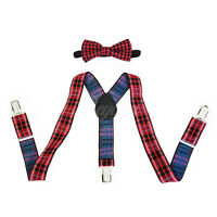 Fancy Red Suspender and Bow Tie Set for Baby Toddler Kids Boys Girls (USA)