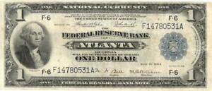 National Currency FRB $1 Atlanta FR 725 Banknote 1918