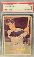 1957 Topps #342 - Gene Mauch - PSA 3 (VG) - Set Break - Boston Red Sox