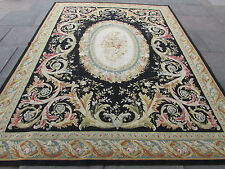 Old Hand Made French Design Wool Black Original Aubusson 317X241cm 10x8