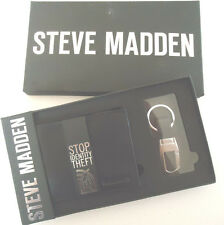 Strve Madden RFID Genuine Leather Wallet and Key Fob Set,NIB