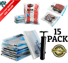 15pc Vacuum Storage Bag Sealer XL Jumbo Space Saver Cloth Packing Store Travel
