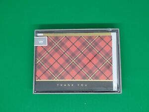 """NEW Hallmark Cares Red , Gold, & Black Plaid """" Thank You """" Blank Cards Set of 10"""