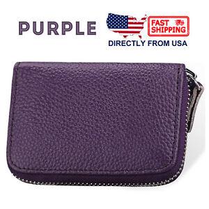 Women's Genuine Leather Credit Card Holder Accordion Style Zip Around Wallet