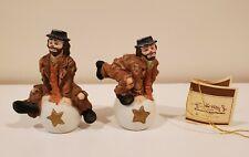 Vintage Emmett Kelly Jr Miniature Tumbling Clowns Set of 2 Flambro Hobo Figures