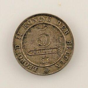 1900 Belgium 5 Centime Dutch Inscription (XF) Extra Fine Condition