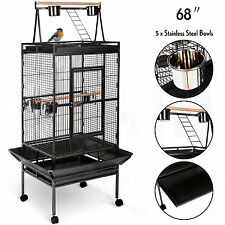 "68"" Large Bird Pet Cage Large Play Top Parrot Finch Cage Macaw Cockatoo 3 Doors"
