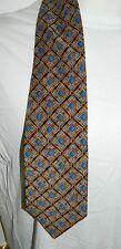 VTG Christian Dior Monsieur Silk Blue Gold Geometric Pattern Wide Long Neck Tie