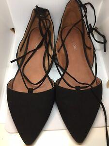 Sweet Urban Soul Black Suede Look Ballet Flats Size 39EU (8 AUS) VGUC