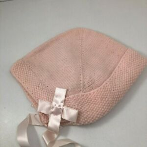 Vintage Knit Baby Bonnet Hat with Ribbon ties Pink for baby or baby doll