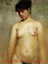 "Nude Woman in Brown 8.5x11"" Photo Print Vintage Erotic Lovis Corinth Painting"