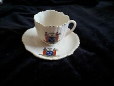 Rare Elegant  small CARLTON CRESTED CHINA DUBLIN IRELAND CUP AND SAUCER