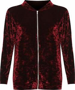 Women Plus Long Sleeve Velour Velvet Coat Top New Ladies Zip Bomber Jacket
