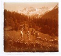 Famille Montagne c1930 Foto Placca Da Lente Positive Stereo Vintage VR16L6n3