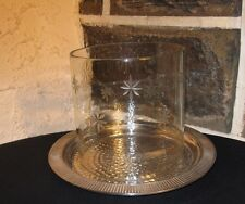 Candle holder For BIG Candle hammered metal base glass ring / etched snowflakes
